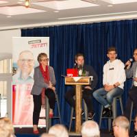 v. l. Elisabeth Jordan; Kevin Kühnert; Jonah Werner; Robert Metzger