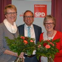v.l. Britta Promann, SPD-Landtagskandidatin Rosenheim Ost, Robert Metzger, Vorsitzender der SPD-Stadtratsfraktion, Elisabeth Jordan, Bezirks- und Stadträtin